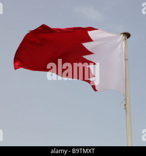 The national flag of Gulf Co operation Council member Bahrain - Stock Photo