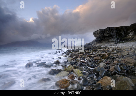 Elgol in windy and stormy conditions, Skye, Scotland, UK - Stock Photo