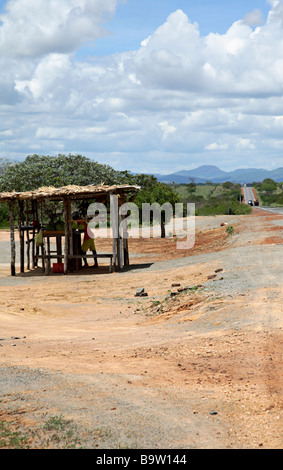 Fruits vendor on the road side in the hinterland of Bahia Brazil South America - Stock Photo