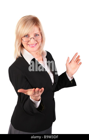 middleaged woman  makes  inviting gesture - Stock Photo