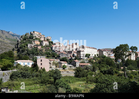 View of the haute ville (old town) and citadelle, Corte (the former independent capital), Haute Corse, Central Corsica, - Stock Photo