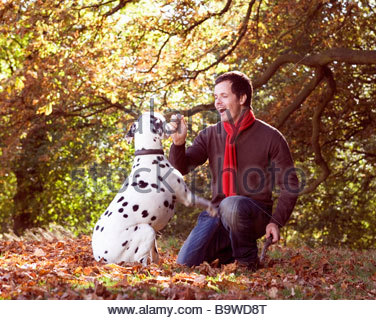 A young man playing with his dog amongst the autumn leaves - Stock Photo