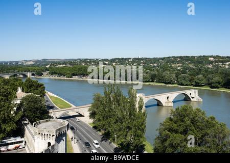 Pont Saint Benezet (the famous Pont d'Avignon) on the River Rhone seen from the Rocher des Doms park, Avignon, Provence, - Stock Photo