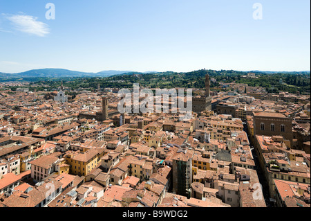 View over the city towards the River Arno and the Palazzo Vecchio from the Campanile, Florence, Tuscany, Italy - Stock Photo