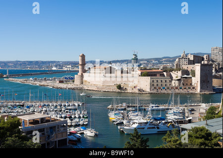 View of Fort St Jean from Fort St Nicolas, the Vieux Port, Marseille, Cote d'Azur, France - Stock Photo