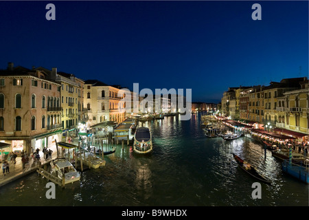 View of the Grand Canal from the Rialto Bridge at night, District of San Marco, Venice, Veneto, Italy - Stock Photo