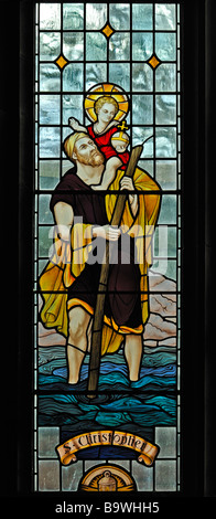 Saint Christopher window. Church of Saint Mary, Dalton-in-Furness, Cumbria, England, United Kingdom, Europe. - Stock Photo