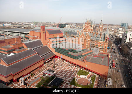 Aerial view of the British Library in London and St Pancras station - Stock Photo