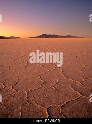 Bonneville Salt Flats at sunset Utah - Stock Photo