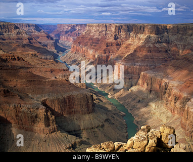 Colorado River flows through Marble Canyon portion of Grand Canyon view from Cape Solitude Grand Canyon National - Stock Photo