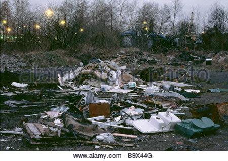Illegally dumped waste Bilston West Midlands - Stock Photo