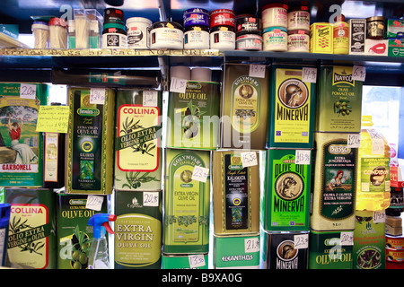 5 litre cans of Carbonell olive oil in Spanish supermarket Stock