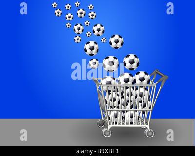soccer balls in shopping cart - Stock Photo
