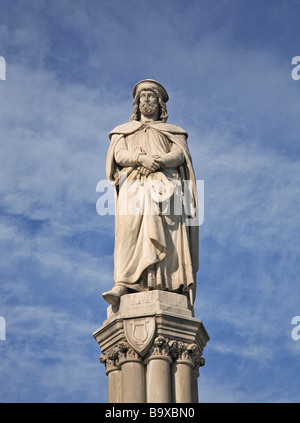place Walterplatz and memorial of Walter von der Vogelweide Bozen Bolzano Tretino Italy - Stock Photo
