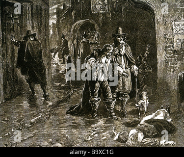 THE GREAT PLAGUE OF LONDON 1665 A cart carries off victms while another is discovered lying dead - Stock Photo