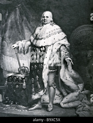 KING LOUIS XVIII of France an engraving after the painting by Narcisse Guerin - Stock Photo
