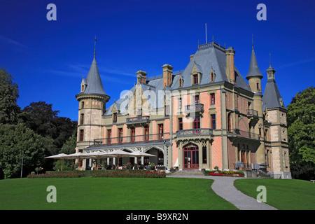 Chateau Schadau at Lake Thun canton Bern Thunersee Switzerland - Stock Photo