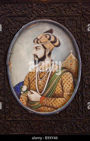Miniature Painting of Shah Jahan Builder of the Taj Mahal - Stock Photo