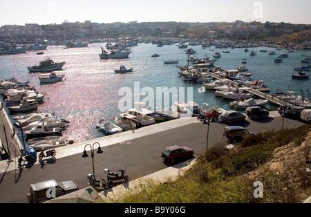 Port in Lampedusa, Sicily, Italy - Stock Photo