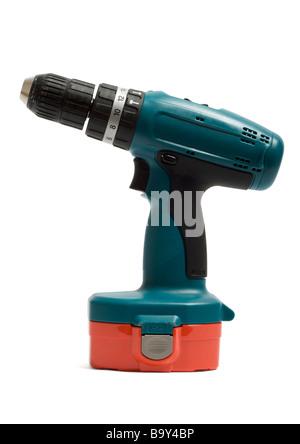 Cordless drill on white background - Stock Photo