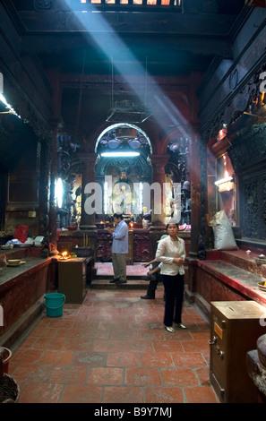 Interior of the Jade Emperor Pagoda Buddhist temple in Ho Chi Minh City Vietnam - Stock Photo