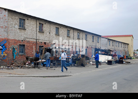 Two-storey brick hostels, housing single working men in the days of apartheid, Langa Township, Cape Town, South - Stock Photo