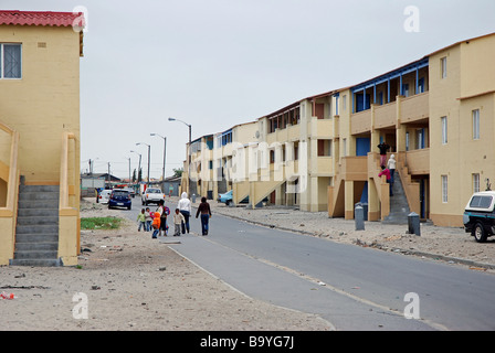 Government-improved maisonette housing blocks, Langa Township, Cape Town, South Africa - Stock Photo