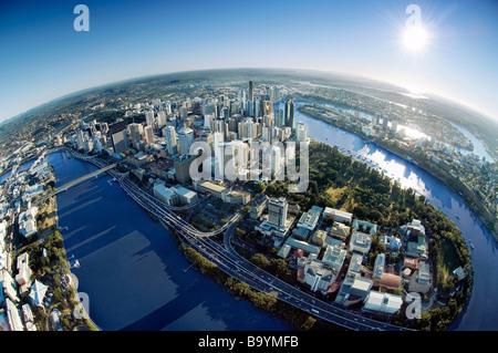 Brisbane city fisheye aerai view - Stock Photo