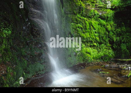 Waterfall in the Blaen y Glyn Valley in the Brecon Beacons Wales - Stock Photo