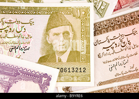 Money currency detail of Pakistani banknotes - Stock Photo
