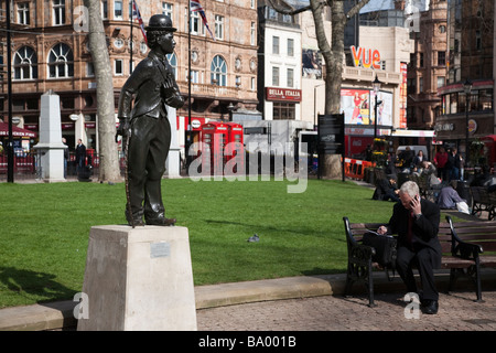 Charlie Chaplin statue Leicester Square, London - Stock Photo