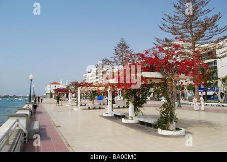 Waterfront promenade, Blas Cabrera Filipe, Arrecife, Lanzarote, Canary Islands, Spain - Stock Photo