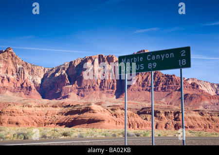 Marble Canyon sign and Landscape at Vermillion Cliffs near Lee s Ferry Arizona USA - Stock Photo