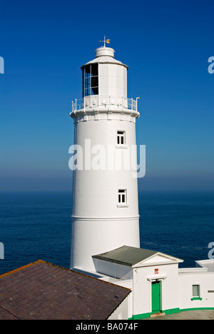 the lighthouse at trevose head near padstow in cornwall,uk - Stock Photo