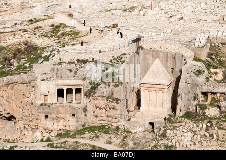 Tomb of Zechariah and of the Hezir family in the upper Kidron valley on the Mount of Olives, Jerusalem, Israel - Stock Photo