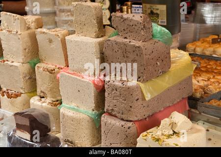 Halva on a food stall in Carmel Market, Tel Aviv, Israel - Stock Photo