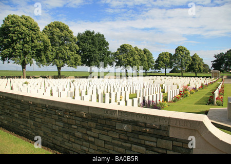 View over the headstones in the CWGC Delville Wood Cemetery, Longueval, France. - Stock Photo