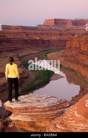 A visitor views the Colorado River from Potash Road Island in the Sky District Canyonlands National Park near Moab - Stock Photo