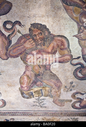Battle of giants roman mosaic cental apse Villa Romana del Casale Piazza Armerina Sicily Italy - Stock Photo