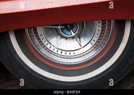 Classic car Thunderbird wheel trim and tire - Stock Photo