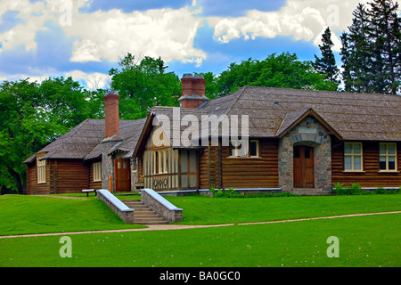 Visitor Information Centre a Heritage building in the town of Wasagaming Riding Mountain National Park Manitoba - Stock Photo