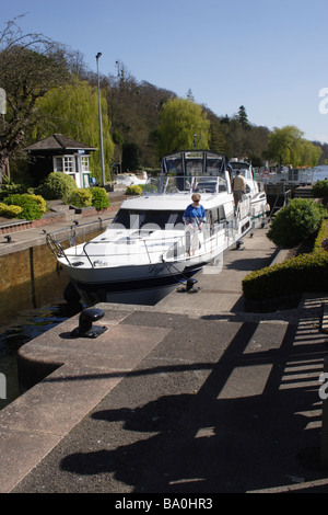 Marsh Lock at Henley on Thames Oxfordshire spring 2009 - Stock Photo