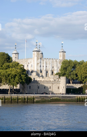 The Tower of London viewed from the South Bank of the Thames River in London England UK - Stock Photo