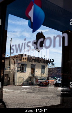 Swisscom phone box on Monte Bre, Ticino, Switzerland - Stock Photo