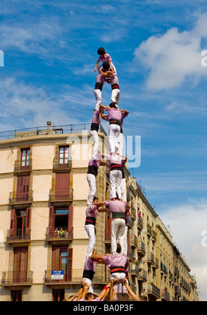Castellers Competition during the La Merce Festival in Placa de Sant Jaume Barcelona Spain - Stock Photo