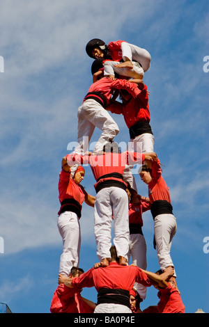 Castellers Competition during the La Merce Festival in Placa de Sant Jaume Barcelona Spain, team Barcelona - Stock Photo