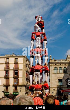 Castellers Competition during the La Merce Festival in Placa de Sant Jaume Barcelona Spain, team Barcelona - Stock Photo