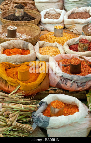 Burmese spices on display at Aungban market, Shan State, Myanmar (Burma) - Stock Photo