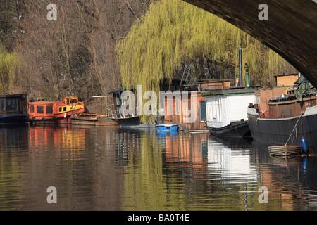 Houseboats on the Landwehrkanal in Tiergarten park near Charlottenburger Tor in Berlin, Germany