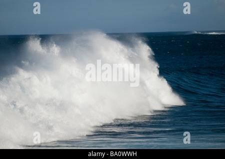 crashing waves rollers ocean sea seas rough white water white horses whitehorses alantic ocean of tenerife swell - Stock Photo